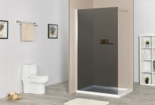 SENSEA Paroi de douche à litalienne, l.90 cm verre fumé 8 mm nickelé - REMIX