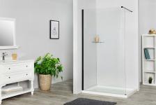 SENSEA Paroi de douche à litalienne, l.100 cm verre transparent 8 mm noir - REMIX