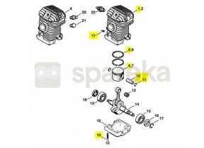 Cylindre+piston d 42,5 ms230 1123-020-1228