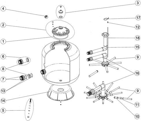 pi ces d tach es filtre sable astral pool 541. Black Bedroom Furniture Sets. Home Design Ideas