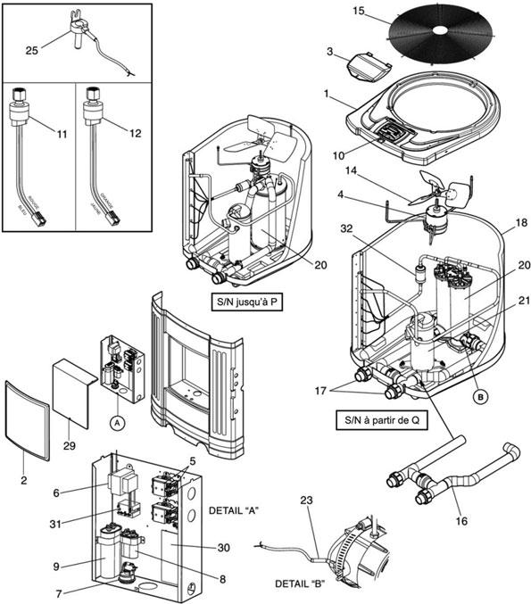 pi ces d tach es chauffage et r chauffeur zodiac pompe chaleur jandy air energy ae ti de 2006. Black Bedroom Furniture Sets. Home Design Ideas