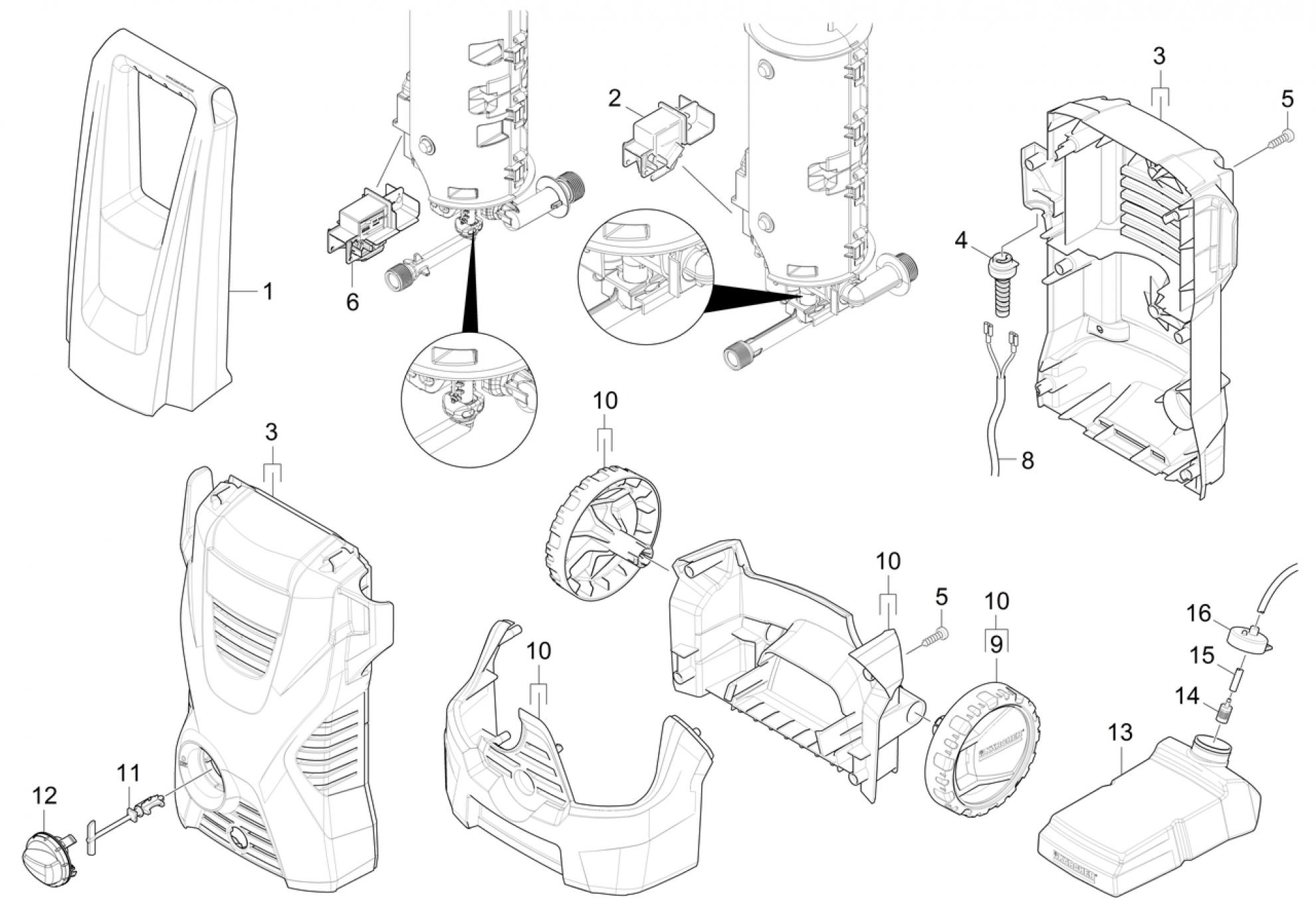 Pi ces d tach es nettoyeur haute pression karcher k 2 premium eu - Pieces detachees nettoyeur haute pression ...