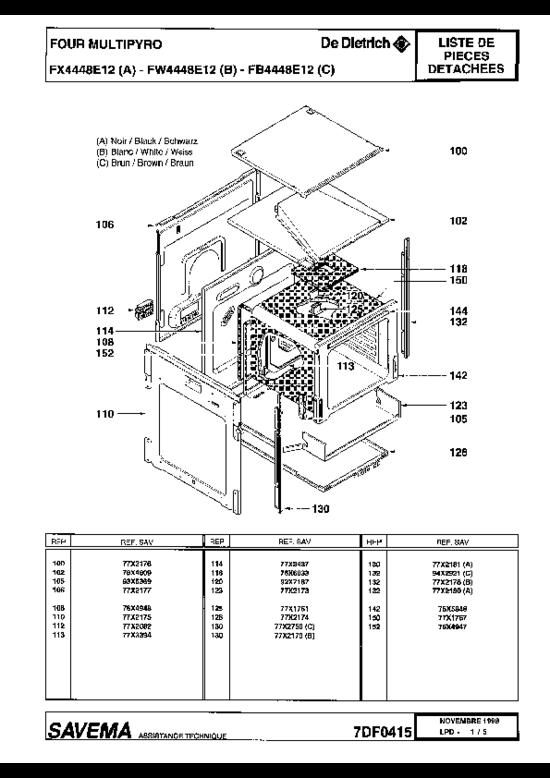 pi ces d tach es four cuisini re de dietrich fx4448e1 fx4448e12 page 2. Black Bedroom Furniture Sets. Home Design Ideas