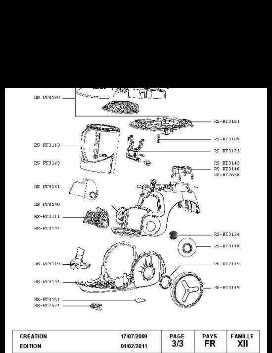 pi ces d tach es aspirateur rowenta ro802111410 prix pas. Black Bedroom Furniture Sets. Home Design Ideas
