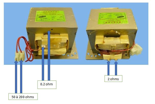micro-ondes: transformateur, vérifier les enroulements