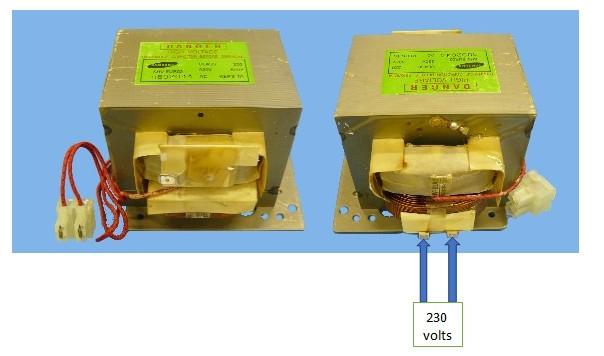 micro-ondes : tension du transformateur