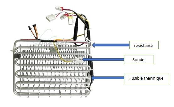 refrigerateursonde, fusible thermique et résistance de réfrigérateur